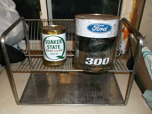 Stainless steel display rack & oil tin