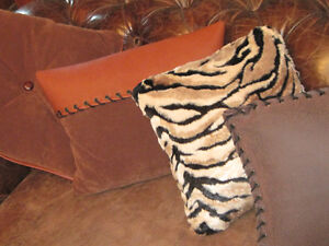 Assorted Brand New Custom Leather, Fur Down Feather Pillows