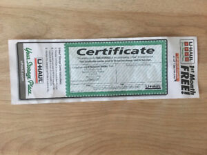 Gift Certificate 30 days storage UHAUl Facility