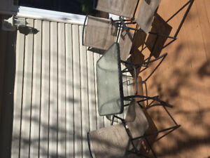$75 - Square patio table and 3 chairs. Great deal!