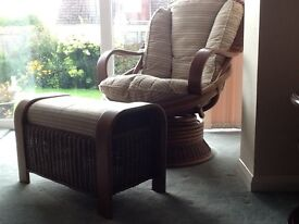 Cane rocking chair and matching footstool