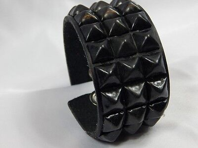 New Black Leather Diamond Noir Pyramid Studded Metal Bracelet Cuff Wristband XL