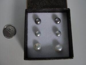 ensemble trio boucle d'oreille en perle +