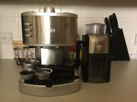 Espresso coffee machine and coffee grinder