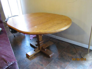 Solid Oak Dining Room Table + 4 Chairs
