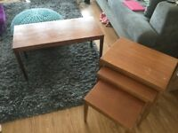 Teak nest of tables and coffee table set.