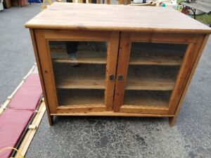 Ikea Wood Entertainment Cabinet with Glass Doors