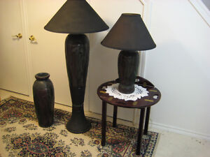 NEW PRICE Hand Crafted Plaster lamps and vase , one of a kind