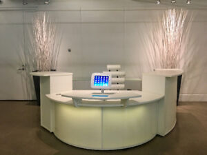 Beautiful White Reception Office Set: desk/credenza/chair/sofa..