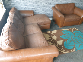 🔥brown leather L shape corner sofa with large cuddle chair 🔥