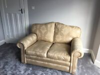 Gold 2 and 3 seater fabric sofa