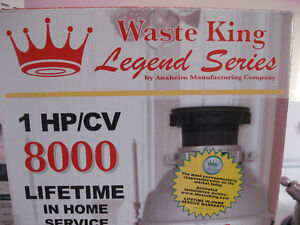 NEW: WASTE KING LEGEND SERIES 8000 FOOD DISPOSER - 1 HP