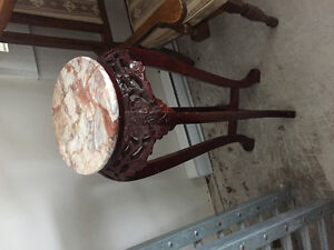 3 high plant stands with marble top