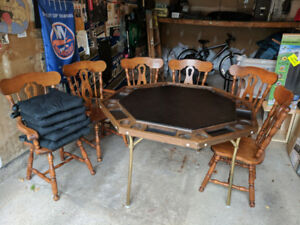 Octagon Poker Table with Chairs