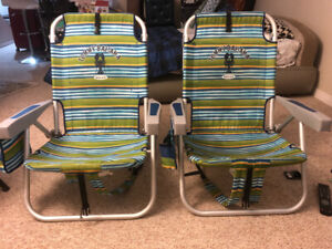 Adjustable 5 Position back pack beach chairs for immediate SALE!