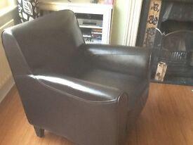 Lovely dark brown leather armchair
