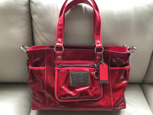 Women's COACH, new with tags, red patent leather tote