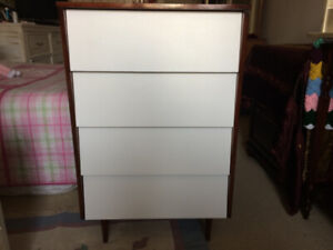 Mid-Century Solid Wood (Small) Dresser- 4 Drawers - $120