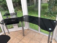 Black glass top swivel home office or artists desk