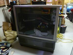 "Free - 43"" Hitachi projection colour TV and stand"