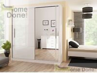 **7-DAY MONEY BACK GUARANTEE!**- Victor Sliding Door Luxury Wardrobe - Black and White!