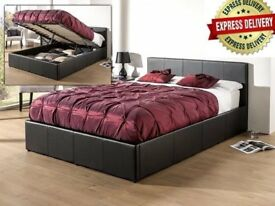 BRAND NEW DOUBLE LEATHER OTTOMAN STORAGE BED FRAME WITH FULL FOAM MATTRESS £209 CALL NOW
