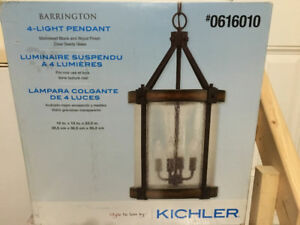 Barrington 4 Light Pendant; Brand New Sealed. Black/Wood Finish