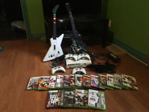 Xbox 360, 17 jeux, Kinect, 4 manettes, 2 guitares