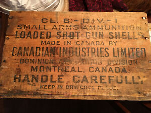 1920 Wooden Ammunition Box Canadian Industries Ltd.