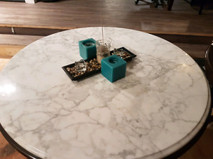 Real Marble table top on wood frame!
