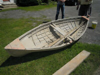 Antique rowboat ready for restoration