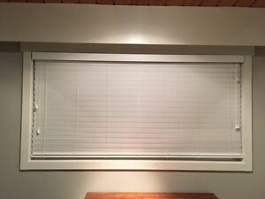 Brand new'Budget Blinds' faux wood white blinds.