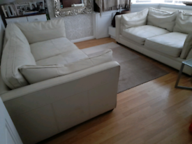 Pair Cream Leather Sofas Large 3/4 Seater Settee & 2 Seater Couch