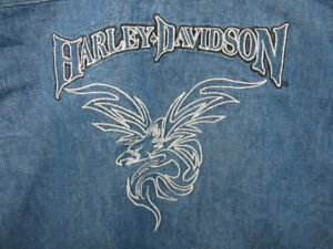Ladie's Harley Davidson embroidered jean shirt size L