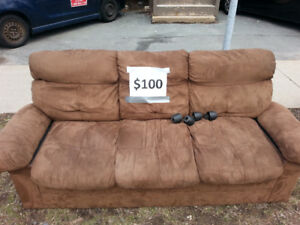 Brown SUEDE couch - $100