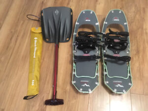 Snowshoes, Probe and Shovel