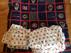 Double comforter and 2 sets of NHL sheets