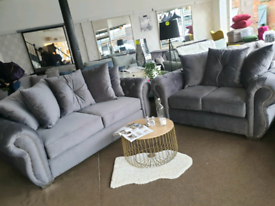 NEW Grey Velvet 3 + 2 Seater Chesterfield Sofa Suite DELIVERY AVAILABL