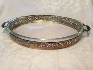 Vintage Pyrex Glass Oval Dish with Silver Plate Serving Tray