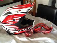 Wulf motocross helmet + Scott goggles