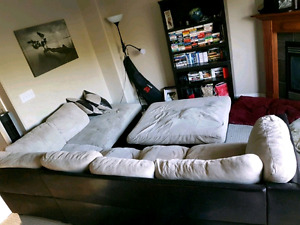 Leather & Suede Sectional