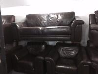 As new brown leather 3 11 sofa srt