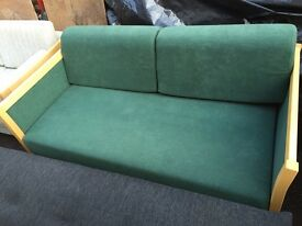 Vintage retro green Danish mid century sofa bed couch 2 seater
