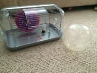 Hamster/gerbil cage with water bottle, wheel, and ball