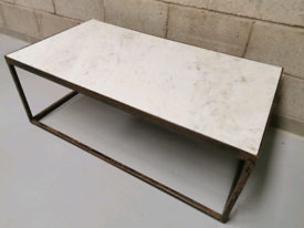 Furniture Village Wind White Polished Marble & Iron Coffee Table.