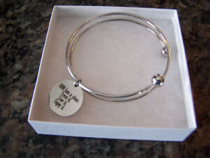 Double Wrap Stainless Steel Inspirational Bangle (New)