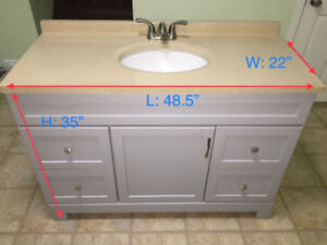 Bathroom vanity 48 inch with counter top and tap