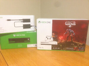 SEALED Xbox One S 1TB Halo Wars 2 with Kinect Sensor & Adapter