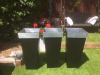 Set of three large zinc/silver zinc planters