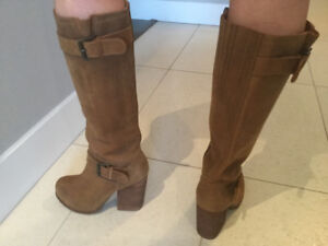 JEFFREY CAMPBELL CHUNKY TALL BOOT TAN LEATHER 7.5 $40